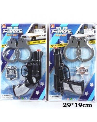 Полицейский набор 2323-5 2 вида, пистолет, значок, наручники, на планшетке 29*19см