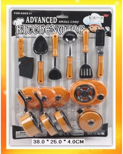 Посуда 1224 газ.плита, сковорода, кастрюля, нож, ополовник, лопатка…на планш.38*25*4см
