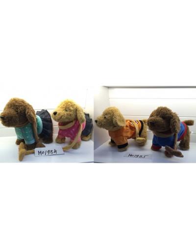 Собачка на поводке M01984/M01985 лает, ходит, 4 вида микс