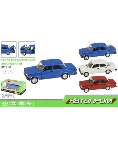 """Машина металл 2107 """"АВТОПРОМ"""" батар.свет, звук, откр.двери, капот, багаж, в кор. 24,5*12,5*10см"""