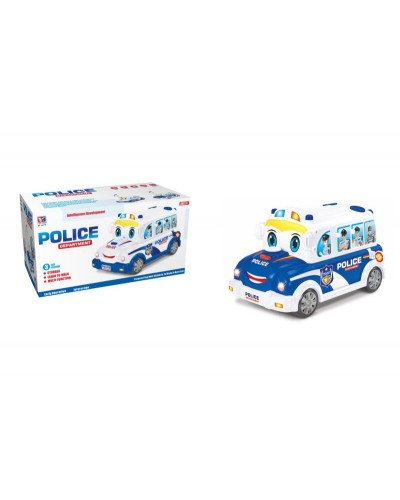 Муз. разв. игрушка BT-2217E полицейская машина-каталка, 2 цвета, батар., муз,  в коробке