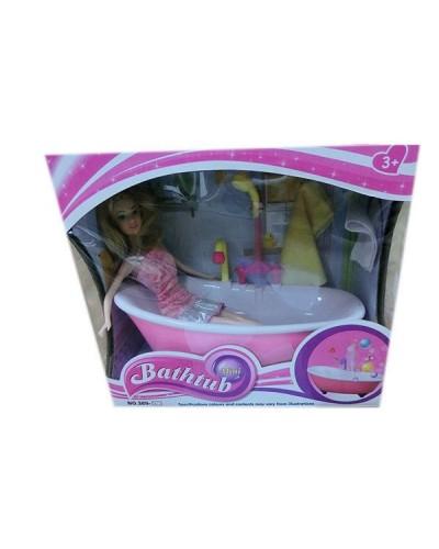 Ванна функц 389-2 батар, течет вода, с куклой , полотенце, аксесс д/купания,в кор.