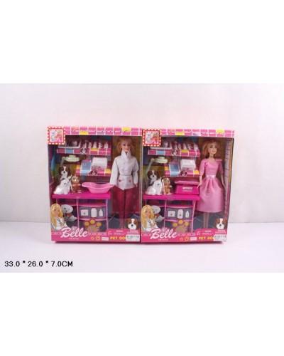 "Кукла типа ""Барби""Ветеринар"" JX600-59 2 вид, питомцы, столик, чемод, мед ин-ты, в кор.33*7*26см"