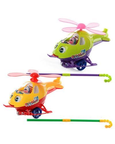 Каталочка вертолет 0302 двиг.глаза, на палочке, 2цв, в пакете 25*13*18см