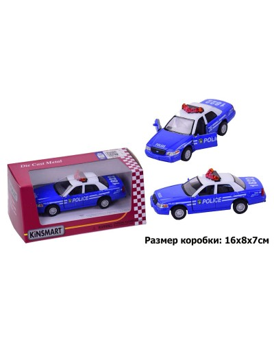 "Машина металл ""KINSMART"" KT5342WA ""Ford Crown Victoria Police Interceptor"" в коробке16*8,5*7"