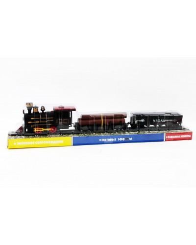 Паровоз батар 1804, + платформа с бревнами, вагон, под слюдой 50,5*6,5*11см