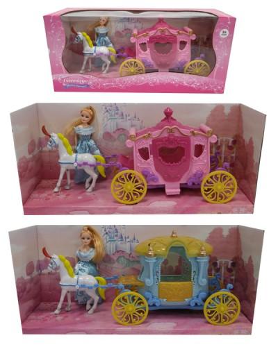 Карета SS004/04B 2 вида, с куклой, лошадкой, в кор.40*18*13см