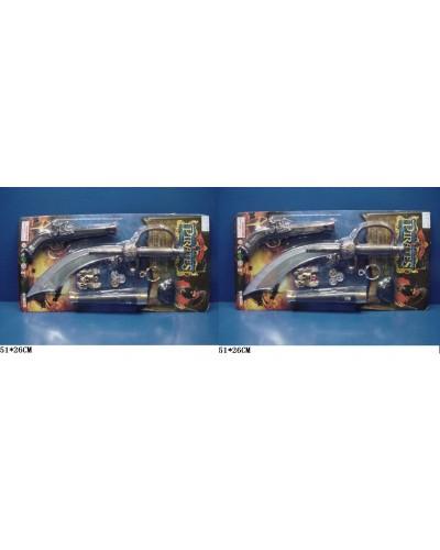 Пиратский набор 9091/2 нож, пистолет, аксессуары, на планшетке 51*26 см