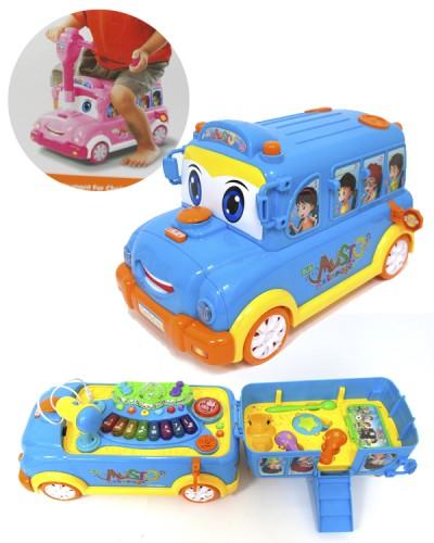 Муз. разв. игрушка BT-2220E автобус-каталка, 2 цвета, батар., муз,  в кор.43*23*23см