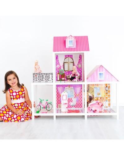 Домик 66883 2-х этаж, с куклами, в кор. 78*36*13см