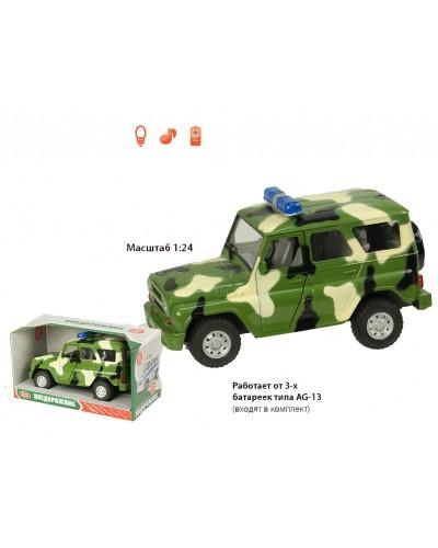 Машина батар 9076-C цвет-хаки, звук, свет, в коробке 21*11*11см