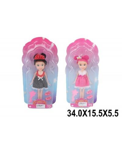 Кукла маленькая 36004/5, 2 вида, с туфельками, расческой в кор.34*15,5*5,5см