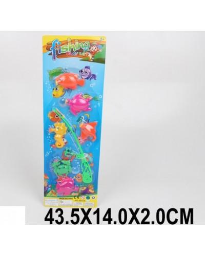 Рыбалка 55123 удочка, 6 морских животных, на планшетке 43,5*14 см