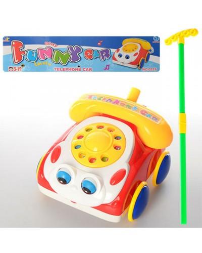 Каталочка машина 0315 -телефон, на палочке, в пакете 29*31*10см