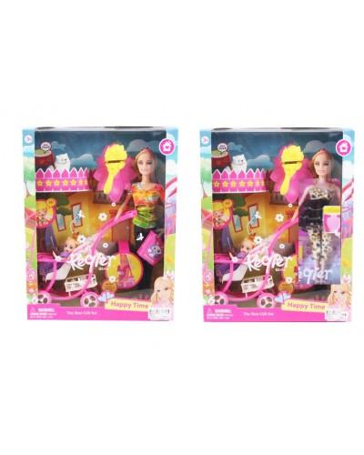 """Кукла типа """"Барби"""" 68009, 2 вида, с куколкой в коляске, питомцем, расческа в кор.27*33*6см"""