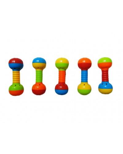 Погремушка в ручку 84801-17A 5 цветов микс,  на планшетке 21*16см