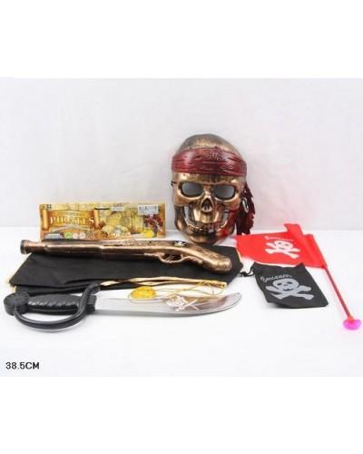 Пиратский набор ZP3555, сабля, маска, флаг, накидка, мушкет, в пакете 38,5см