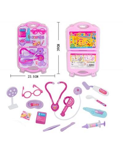 Доктор 8007-1, стетоскоп, шприц, градусник, очки, пинцет, скальпель... в чемодане 39*23см