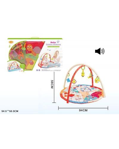 Коврик для малышей 818-11A/12A/13A/14A/15A/16A музык, с погремушками на дуге, в сумке  94*56см