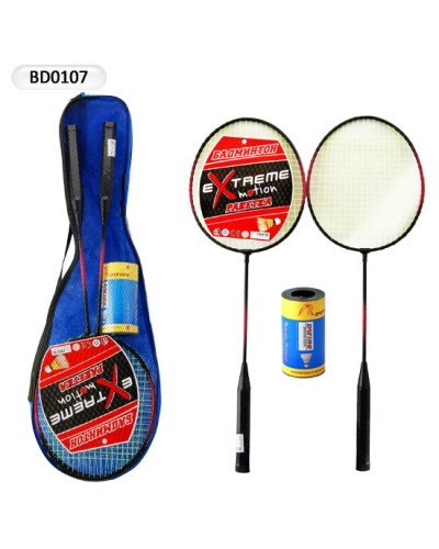 Бадминтон E02885 2 ракетки + набор воланчиков, в сумке 62 см