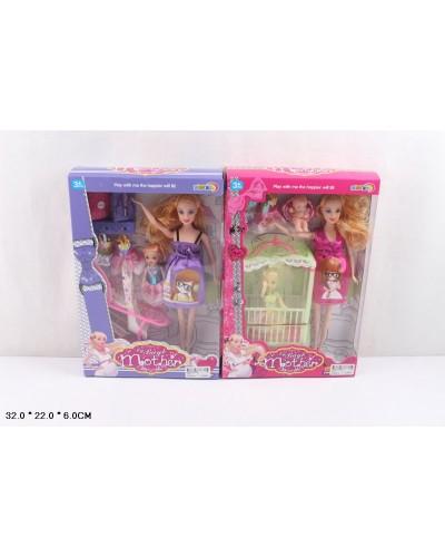 """Кукла типа """"Барби""""Беременная"""" 5102 2 вида, с ребенком, одеждой, кроват, коляск, в кор.22*6*32см"""