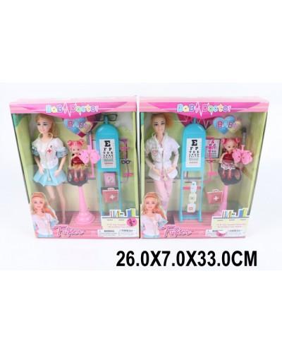 """Кукла типа """"Б""""Офтальмолог"""" JX100-64, 2 вида, с куколкой, с мед.оборуд., в кор.26*7*33"""