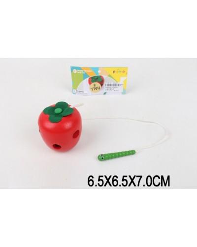 Деревян. шнуровка Яблоко LS8084  в пакете 6,5*6,5*7 см