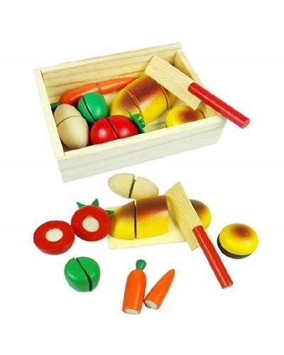 """Деревян.""""разрезалки"""" KXM-534 овощи/фрукты, на липучке разрезать , в коробке 17*11*5см"""