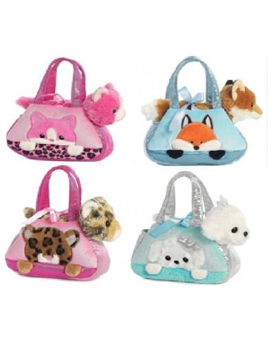 Мягкая игрушка CLG17052 животное в сумочке, 4 вида, в пакете 20*8*16 см