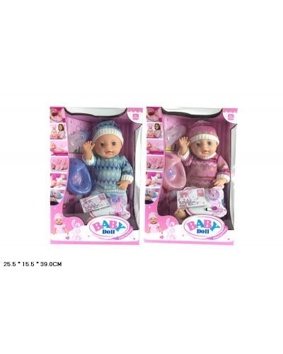 """Пупс функц """"Baby Doll"""" YL1710C 6ф-ций, пьет-пис, горшок, соска, бутыл, аксесс, в кор.26*16*39см"""