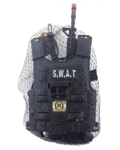 Полицейский набор HD-109 оружие, бронежилет, в сетке