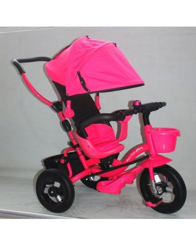 """Велосипед 3-х колес AT0103 РОЗ надувные колеса 12"""" и 10"""",складной козырек, складная подножка"""