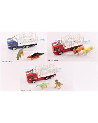 Трейлер инерц. L766-2/5/9 3 цвета, в наб-ре животные, в пакете 23*12*8см