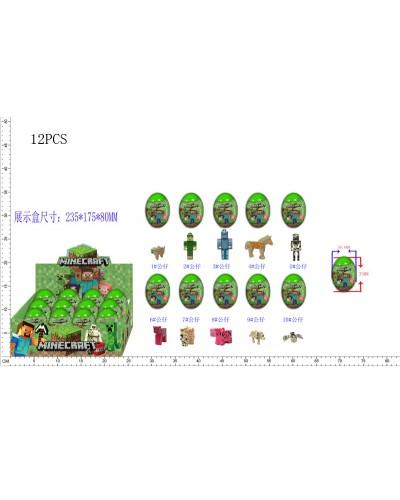 Герои MINECRAFT Q1526 микс,12 яиц(3 цвета:оранжевый, розовый, зеленый), в боксе 23,5*17,5*8см