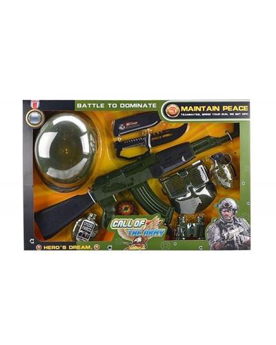 Военный набор 161E каска, автомат, компас, бинокль, фляга…., в кор.