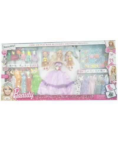 """Кукла типа """"Барби 665B4 с 2-мя мал.куколками, одеждой в наборе, и аксесс, 4 вида микс, в кор."""