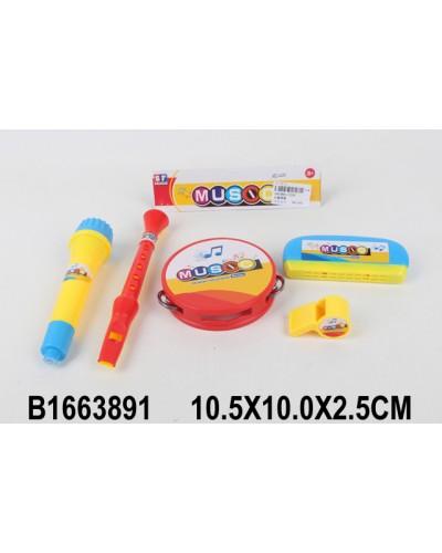 Муз.инструменты 2200 микрофон, бубен, дудка, свисток, губная гармошка, в пакете 10*