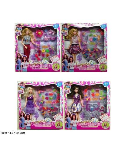 """Кукла типа """"Барби""""Модельер"""" V28 4вида, шарнир, набор д/рукоделия, аксесс, кор.30*5*32,5см"""