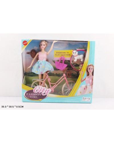 "Кукла типа ""Барби"" JND-1214 3 вида, питомцы, велосипед, шлем, в кор.35*30,5*8,5см"