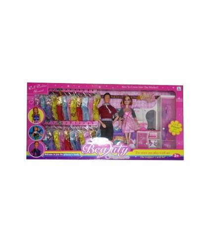 """Кукла типа """"Барби"""" 12825A 4 вида, с Кеном, набором платьев, мебелью, в кор."""