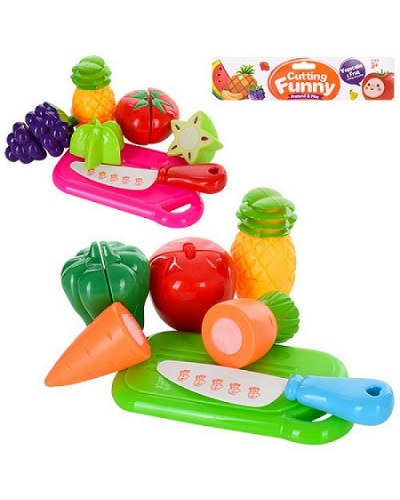 Овощи и фрукты 6105/6106 2 вида, дел.пополам, досточка, нож, пакет17,5*5*21,5см