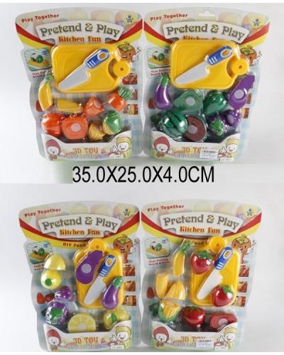 Овощи и фрукты 9805/6  4 вида, делятся пополам, с ножом, досточкой, на планшетке 35*25*