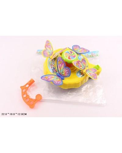 Каталочка 256 бабочки, на палочке, в пакете 22*18*12см