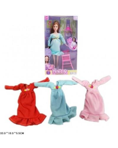 """Кукла """"Беременная"""" 196A 3 вида, со стульчиком, бутылочкой, в кор.33*18*5,5см"""