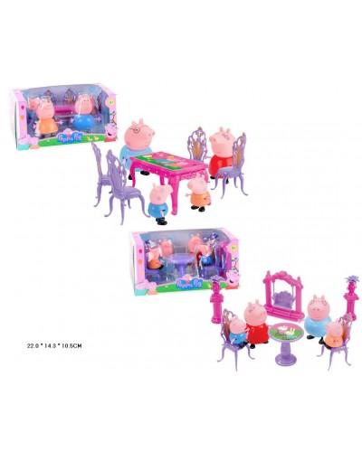 """Мебель """"PP"""" PP6052-A/B 2 вида, с фигурками, посудой, в кор. 22*11*14см"""
