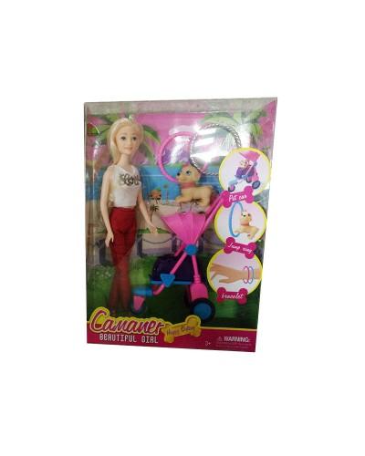 "Кукла типа ""Барби"" 059B-1 3 вида, с коляской, собачкой, браслеты д/рук, в кор."