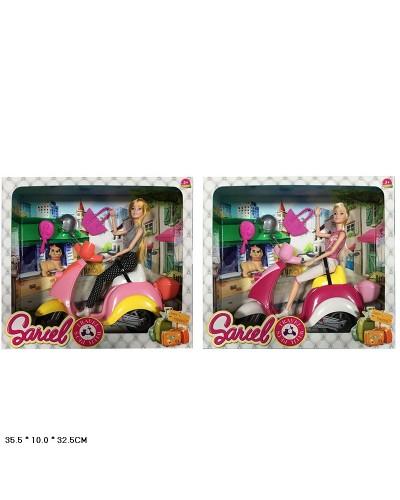 "Кукла типа ""Барби"" 5533  2 вида, шарнир, на мопеде, свет/муз, с собачкой, кор.35,5*10*32,5см"