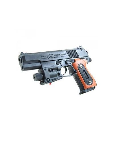 Пистолет AA-07 батар., лазер, свет, пульки в коробке 18*10см