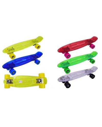 Скейт SC17107 прозрачный, металл. крепления, колёса PU свет, 55*14см