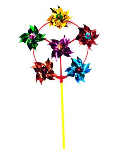 Ветрячок 160428  цветной на палочке (30см), цветок - 9см